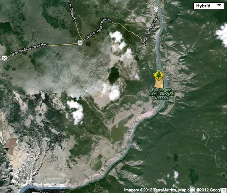 Doc English Bluffs (satellite) location map - Friends of
