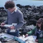 Chris and Lorrie doing intertidal algae herbarium specimens.. marine science class.