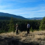 Laurie and Niran overlook the valley with Trout Creek in the bottom.