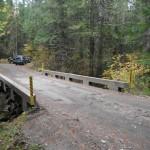 The bridge across Vance Creek used by logging trucks and recreational vehicles.
