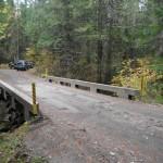 The bridge across Vance Creek used by logging trucks and recreational vehicles.