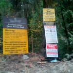 This proliferation of signs on the road at the entrance to the road through the reserve indicates heavy use..