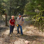 Linda Kennedy shows Garry Fletcher through the Campbell Brown Ecological Reserve.
