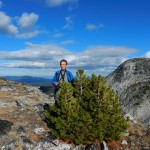 Don and whitebark pine on top of the ridge