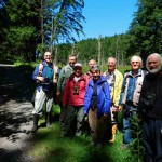 The group meets at the south end of the Galiano Bog for the visit to the reserve. Ken Mallard on the right accompanies us.